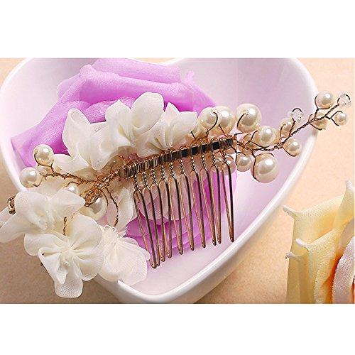 Tüll Blume Sicke Simulierte Perlen Braut Haarkämme Hochzeit Haarschmuck für Brauthochzeits Abschlussball Partei - Weiß - 3