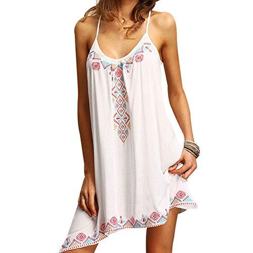 BOMOVO Damen Sommerkleid Strandkleid Rundkragen Ärmellos Chiffonkleid Rock Partykleid Tunika Blusen Kleider Weiß