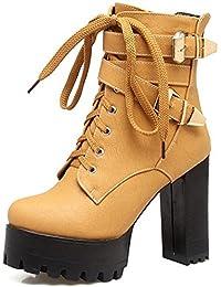 SHOWHOW Damen Blockabsatz Martin Boots Kurzschaft Stiefel Mit Schnürsenkel Beige 41 EU Jh72X