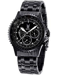 Konigswerk para hombre negro reloj de pulsera gran esfera cristal Accent multifunción día fecha sq201458–1G