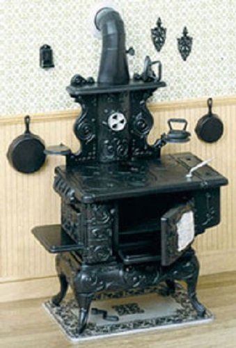 Dollhouse Miniature 1:12 Scale Cook Stove and Accessories Kit (Doll 10 1 Scale)