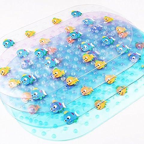JUNGEN Tapis de Bain Antidérapant et Antibactérien Baignoire Salle de Bain Caoutchouc Synthétique Transparent pour Bébés(Bleu)