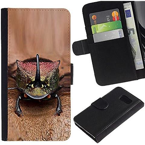 Leather Etui en cuir || Samsung Galaxy S6 || gecko lagarto marrón animales exóticos @XPTECH