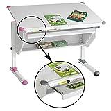 Kinderschreibtisch Schülerschreibtisch PHILIPP höhenverstellbarer in weiß mit Schublade und Ablage, Wechselkappen rosa pink und grau