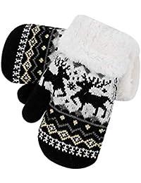 IBLUELOVER Moufles Enfant Gant de Ski Hiver Gants Tricoté Épaissi et  Doublure Polaire Gloves Motif Faon 7f487188df7
