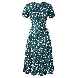 Amcool Damen Kleider Sexy V-Ausschnitt Kurzarm Boho Mode drucken Sommerkleid V-Ausschnitt Maxikleid Kurzarm Strandkleid Lang mit Schlitz