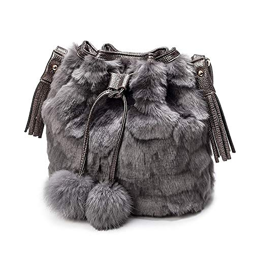 Qztg borsetta borse da donna borsa a tracolla in pelliccia velluto piume pelliccia grigio testa di moro grigio chiaro borse a tracolla a tracolla zaino borsette