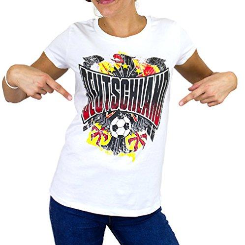 Deutschland Europameisterschaft EM 2016 Women T-Shirt Fanshirt (Weiß, M)