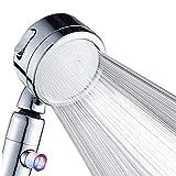 Soffione doccia in cristallo a 3 stop per docce ad alta pressione valvola di arresto dell'acqua a un pulsante con tubo portatile rimovibile a parete per un'esperienza di lusso