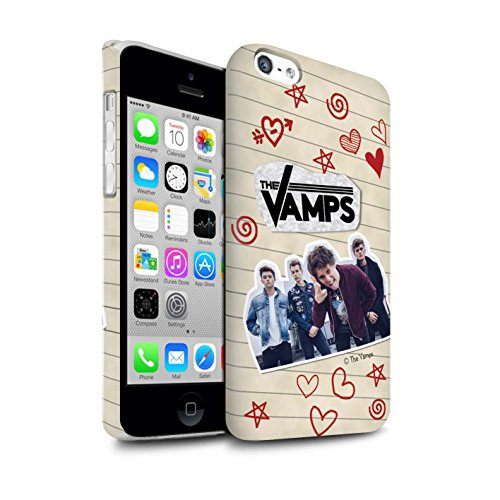 Offiziell The Vamps Hülle / Matte Snap-On Case für Apple iPhone 5C / Pack 5Pcs Muster / The Vamps Doodle Buch Kollektion Rot Stift