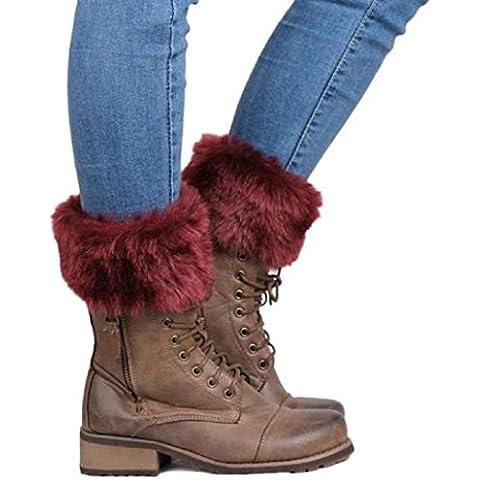 ZARU 1 par de señora botón Recortar los calcetines de punto de ganchillo pierna de la felpa de la media de la cubierta