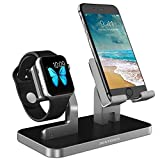 BENTOBEN iPhone Dock, iwatch Ladestation, Apple Watch Stand, Handy Halterung Ständer, Apple Watch Docking Station für iPhone X 8 7 6 SE Apple Watch iPad Mini Samsung Galaxy Smartphone usw. Space Grey