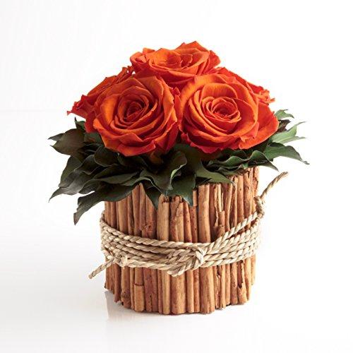 Rosengesteck 6 konservierte Rosen lang haltbar 3 Jahre / Blumengesteck / Bauernhaus / Blumen Deko / Tisch von ROSEMARIE SCHULZ® Heidelberg (Orange)