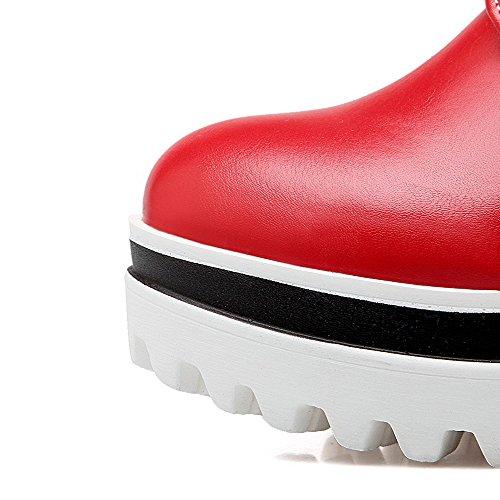 AgooLar Femme Rond Lacet Pu Cuir Couleur Unie à Talon Haut Chaussures Légeres Rouge