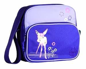 Lässig Mini Square Bag Kindergartentasche Kinder Umhängetasche mit verstellbarem Schulterriemen, Reißverschluss, Namensschild und Utensilientasche, Deer viola