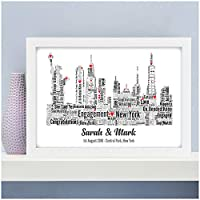 Personalised Engagement Gifts NEW YORK Skyline Engagement Gift Present Fiance Fiancee Engaged Couple Gifts - A5, A4, A3 Prints and Frames - 18mm Wooden Blocks - FREE Personalisation