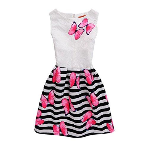 Kinder Baby Yesmile Kinder Baby Schmetterling Streifen Casual Kleid/Prinzessin Kleider/Mädchen Kleinkind/Party Kleidung/6-12Jahr (130, Rot)