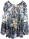 Damen Tunika Bluse in Crashoptik und Hippie Style mit Print und Nieten, unterfüttert, MADE IN ITALY