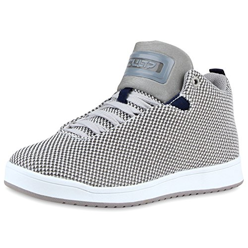 Sportliche Herren Damen Unisex Sport Schuhe Sneaker High Top Basketballschuhe Cultz 90's Style Hellgrau
