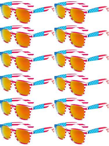 Norme 12 Stück Amerika Amerikanische USA Flag Sonnenbrille Independence Day Klar Frame Klassische 80er (Rot)