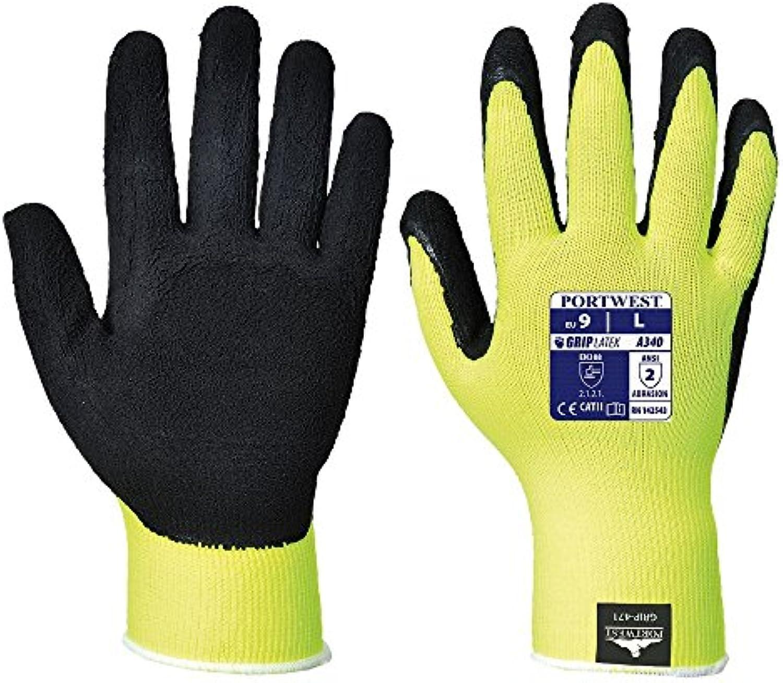 Portwest A340 par de guantes con Grip antideslizante reflectante, 10, amarillo