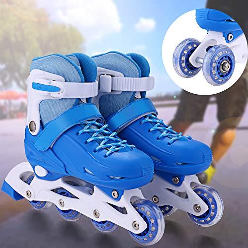 Inline Skates & Kinder Schlittschuh Roller Blades Größe Verstellbar Rollschuhe mit Mesh atmungsaktive Inliner für Jungen/Mädchen/Jugendliche (Blau, EU 35-38)