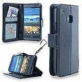 MadCase Premium PU Leder Etui Design Flip Case Hülle mit ID Schlitz für HTC M9 Mit Kreditkartensteckplã¤tze - Schwarz