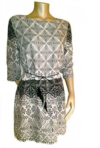 best-emilie-damen-hippie-minikleid-oversize-tunika-strandkleid-m-l-creme-schwarz-ethno