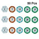 YeahiBaby Texas Poker Chips für Kinder Rollenspiel Spielzeug Kinderparty Mitgebsel 50 Stück
