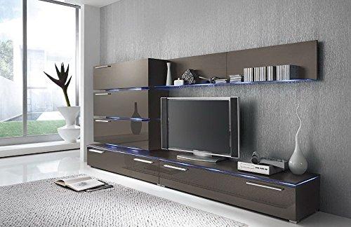 Anbauwand 7-tlg. Hochglanz grau, 2 x TV-Element, 3 x Hängeschrank, 3 x Zwischenelement, 2 x Glasbodenpaneel, Mindestb.: ca. 300 cm, Tiefe: ca. 40 cm