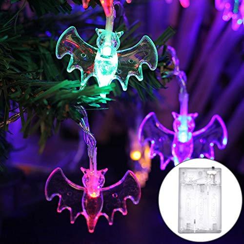 Jasmin FS String Light 2.5m Bat Design Weißes Licht Halloween Serie LED String Licht, 20 LEDs 3 x AA-Batterien Box Betrieben Party Requisiten Fee Dekoration Nachtlampe LED dekoratives Licht (Bat Halloween Design)