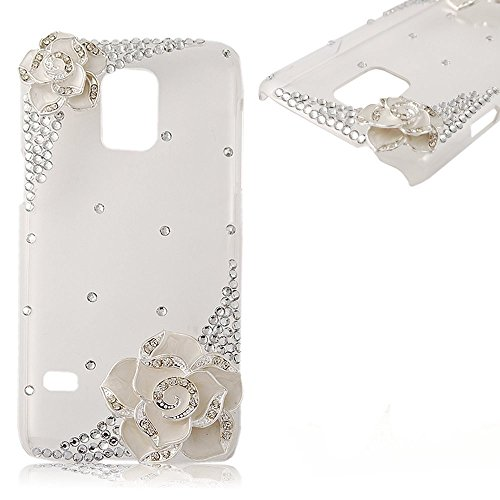 EVTECH (TM) Coque 3D Bling Strass Case Transparent Back Cover Cristal Etui Housse Hard Coque pour Samsung Galaxy S5 mini / SM-G800 style-a1