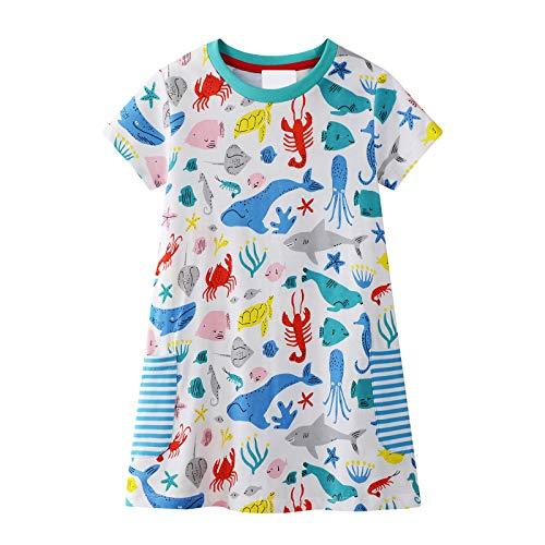 id Kurzarm Baumwolle Cartoon Tier Applique Shark Whale Muster Kleid Kind Mädchen Baumwolle T-Shirt 1-8 Jahre Alt (Blau) ()