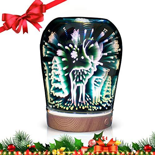 [Cadeau de Noël] Diffuseur d'Huiles Essentielles 100ml, MODA 3D Humidificateur d'air Ultrasonique, Image Effet de 3D avec 6 Couleurs LED, Cadeau Parfait pour Enfants, Familles, Fêtes, Noël