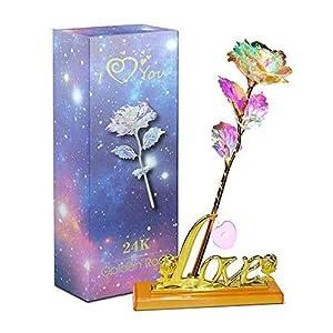 Aokebeey 24k Galaxy Rose Künstliche Bunte Blumen mit Herzförmigen Stand Kreative Geschenke für Hochzeit, Muttertag…