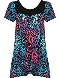 WearAll Womens Plus Size Floral Flower Print Scoop Neck Short Sleeve Top Tunic 16-26