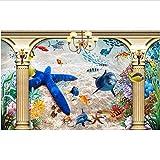 Zxdxd 3d wandbilder wallpaper für wohnzimmer wände 3d fototapete Europäischen strand delphin starfish Home decoration-350X250CM