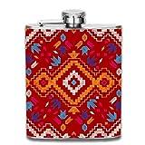 dfegyfr Red Tribal Grips Liquor Hip Flask Stainless Steel Shot flasks Leak Proof for Men 7oz
