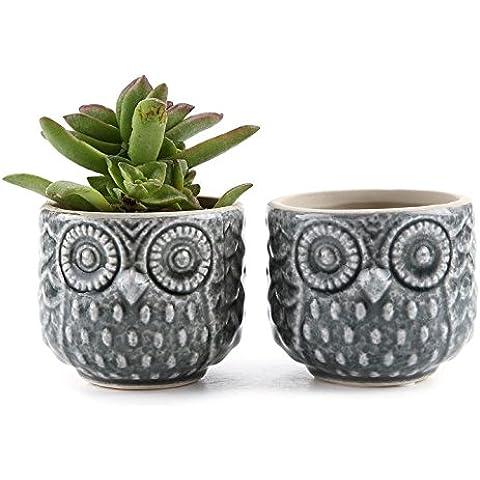 T4U 7cm in ceramica Owl pattern sucuulent Vaso/Cactus Vaso Fiori Vaso/contenitore/Vaso Bianco Grigio
