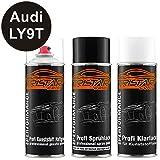 TRISTARcolor Autolack Spraydosen Set für Kunststoff Stoßstange Audi LY9T Mythosschwarz Perl Haftgrund Basislack Klarlack mit Weichmacher Sprühdose