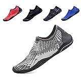 hiitave Men Women's Quick Dry Barefoot Water Shoes Slip On Beach Sport Aqua Socks Gray 9 B(M)