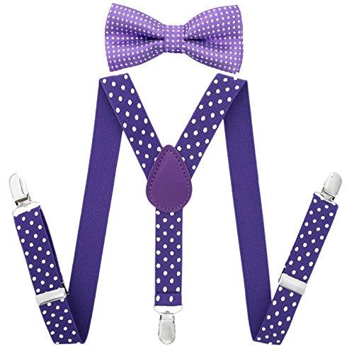 AWAYTR Kinder Jungen Hosenträger Fliege Set - Verstellbar Elastisch Hosenträger mit Krawatte Set für Jungen & Mädchen (Lila Tupfen)