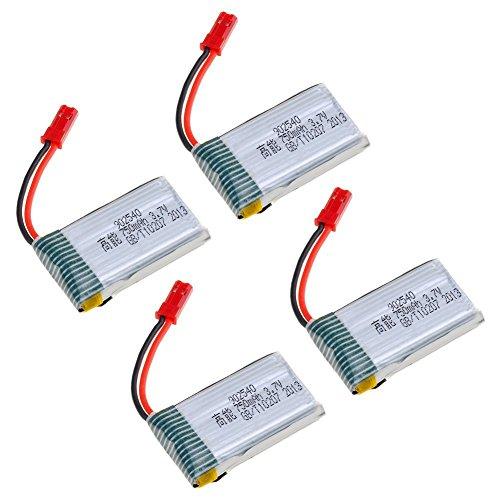 3,7V 750mAh Lipo Akku Batterie (4St) für MJX X400W X400 Holy Stone HS110 Sky Viper S670 MJX X400C X800 X300 X300C X200 X500 RC Quadcopter Drohne + 4 in 1 Batterien Ladegeräte - 2