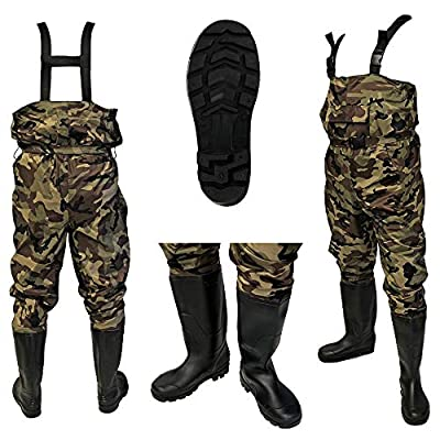 DNA NEW 100% Waterproof Lightweight Camo Nylon Carp Coarse Fly Fishing Chest Waders with Elasticated Quick Release Buckle Suspenders and High Grip PVC Boots/Wellies in from DNA