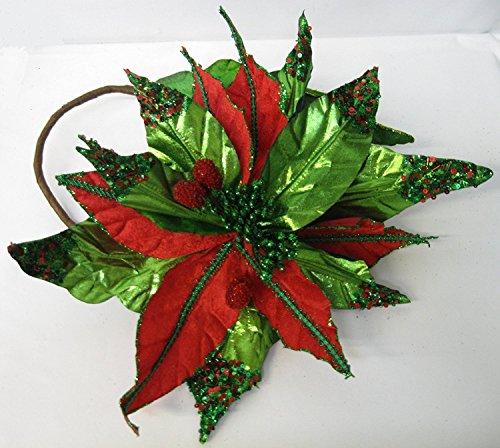 Wunderschönes Oversize Rot & Grün Pailletten-Weihnachtsstern mit rot Glas Perlen Center 38,1cm Durchmesser