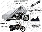 #1: Volga Silver Bike Body Cover With Mirror Pocket For Bajaj Avenger