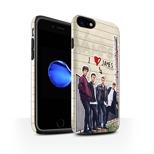 Offiziell The Vamps Hülle / Glanz Harten Stoßfest Case für Apple iPhone 8 / Band Muster / The Vamps Geheimes Tagebuch Kollektion James