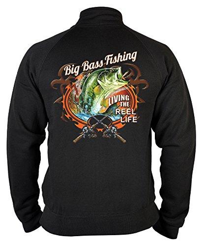 Angler Zip-Sweatshirt Big Bass Fishing Angel Sweater 4 Heroes Geburtstag Geschenk geil bedruckt (Fischen Bass T-shirt Angeln)