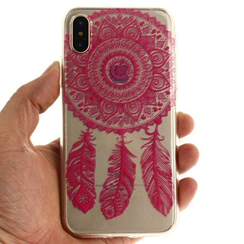 Per iPhone X,Sunrive® Custodia Cover Case in molle Trasparente Ultra Sottile TPU silicone Morbida Flessibile Pelle Antigraffio protettiva(grandi fiori bianchi) Magenta Dream Catcher