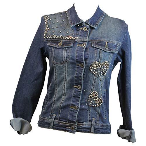 Missy Zac   Zoe Damen Jeansjacke mit Herz Kurzjacke leichte Denim Jacke  Casual Wear Strass   Perlen, Größe S, Farbe Blau 7de1046174